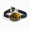 Hawks Eye Braided Leather Bracelet