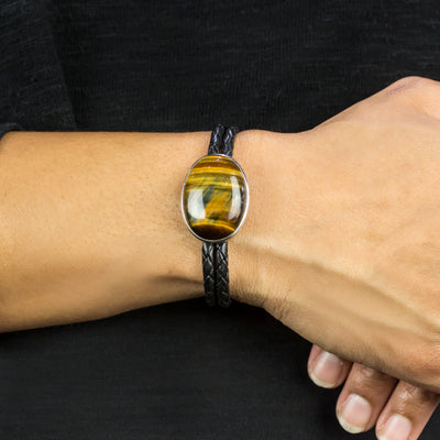 Hawks eye leather bracelet on model