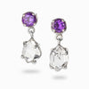 Herkimer Diamond and Amethyst Earrings