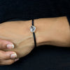 Herkimer Diamond Flat Leather Bracelet on Model