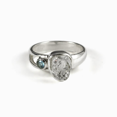 Herkimer Diamond with Blue Topaz Ring