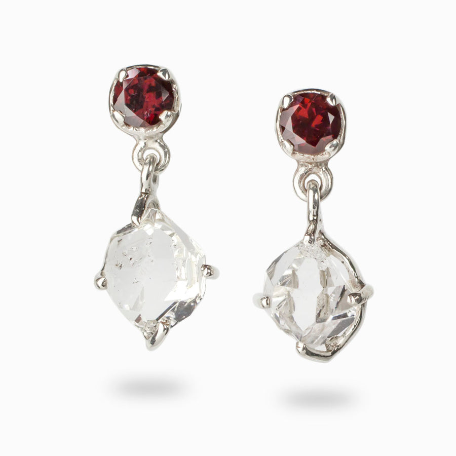 Herkimer Diamond and Garnet Earrings