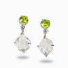 Herkimer Diamond and Peridot Drop Earrings
