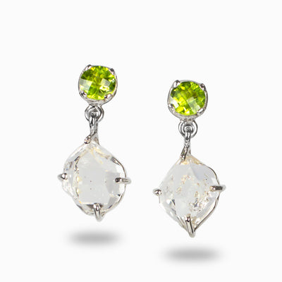 Herkimer Diamond and Peridot Earring Drop