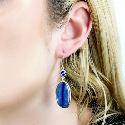 Kyanite Earrings on Model