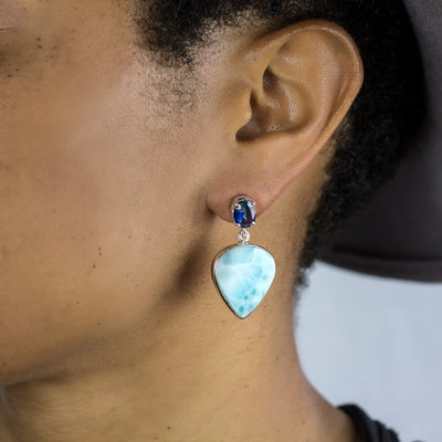 Kyanite and Larimar Earrings on Model