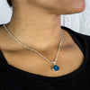 Labradorite beaded chain necklace with pendant on model