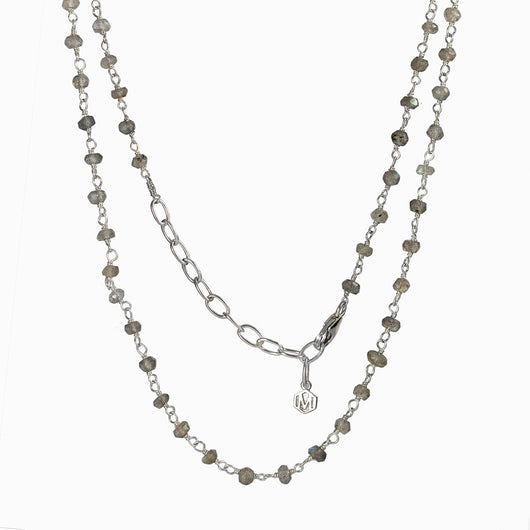 Labradorite beaded chain necklace