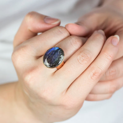 Labradorite Ring on model