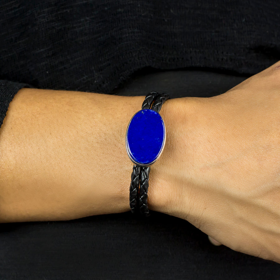 Lapis Lazuli Braided Leather Bracelet