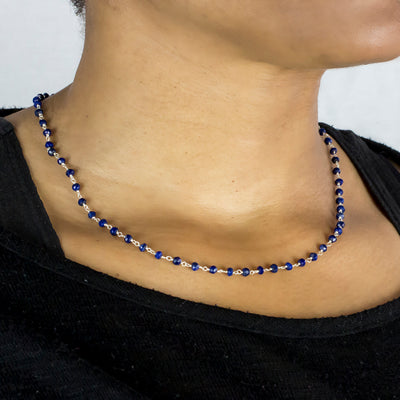 Lapis Lazuli beaded chain necklace on Model