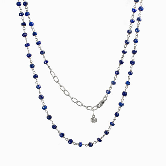 Lapis Lazuli beaded chain necklace