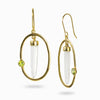 Vermeil Laser Quartz and Peridot Earrings
