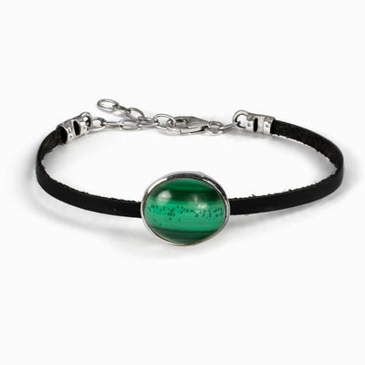 Malachite Flat Leather Bracelet