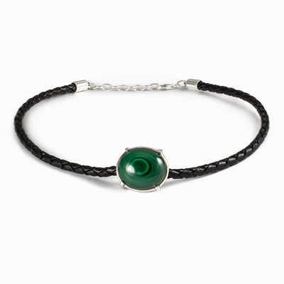 Malachite leather necklace