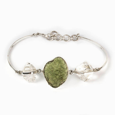 Moldavite and Herkimer Diamond Bracelet