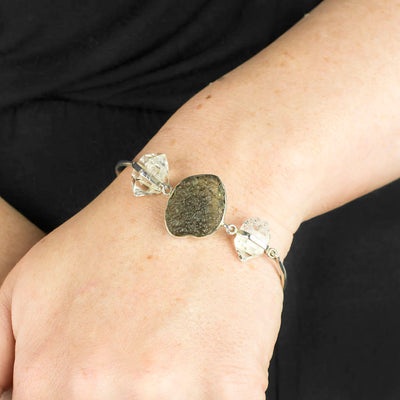 Moldavite and Herkimer Diamond Bracelet on Model
