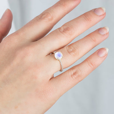 Rainbow Moonstone Ring on Model