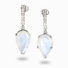 Rainbow Moonstone and White Topaz Stud Drops
