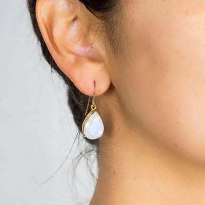 Vermeil Rainbow Moonstone Drops on Model