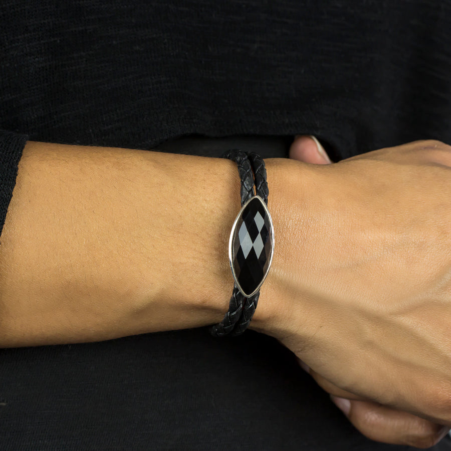 Onyx Braided Leather Bracelet