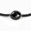 Onyx faceted leather choker