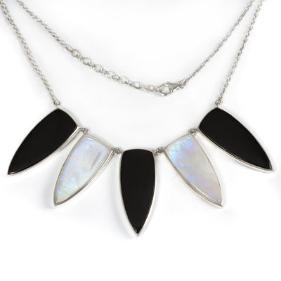 Rainbow Moonstone and Onyx Necklace