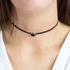 Onyx leather choker