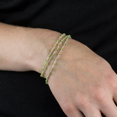 Peridot beaded chain bracelet on model