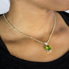 Peridot beaded chain necklace with pendant