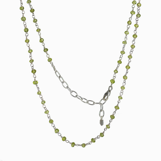 Peridot beaded chain necklace