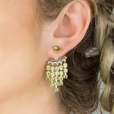 Peridot Stud Drop Earrings on Model