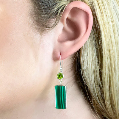 Peridot and Malachite Earrings on Model
