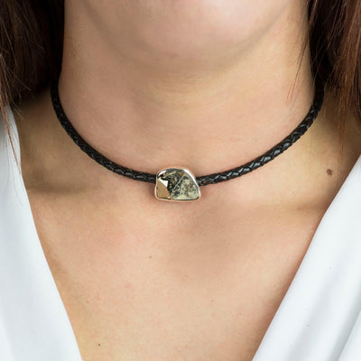 Pyrite leather choker