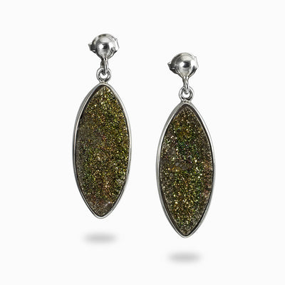 Rainbow Pyrite Drop Earrings