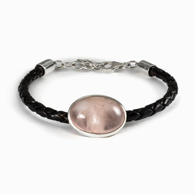 Rose Quartz Leather Bracelet