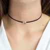 Rose Quartz leather choker