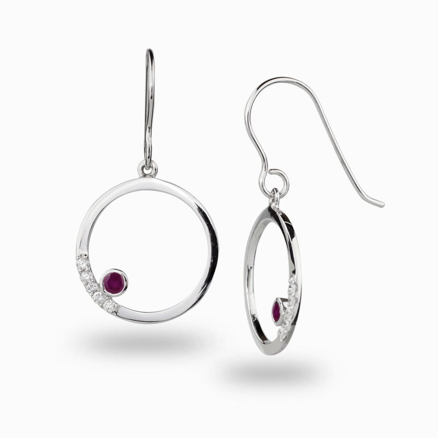 Cercle: Ruby & Diamond Earrings