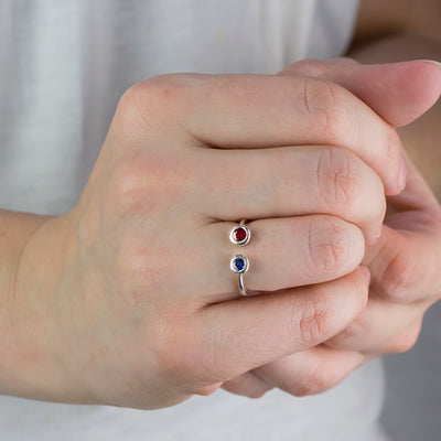 Model Wearing Ruby and Sapphire Ring