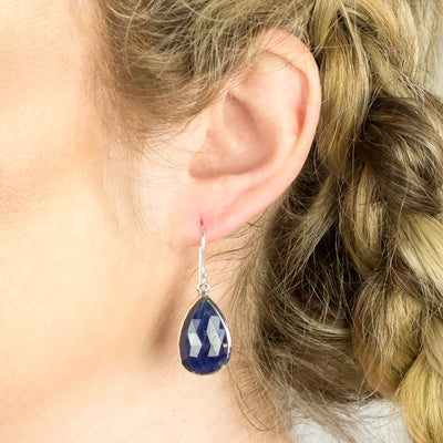 Sapphire Earrings on Model