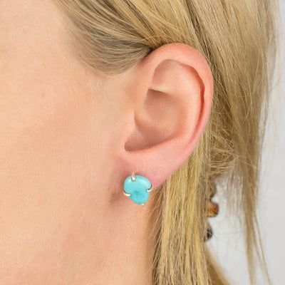 Sleeping Beauty Turquoise Earrings on Model