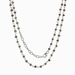 Smokey Quartz beaded chain necklace