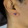 Tanzanite Stud Earrings on Model
