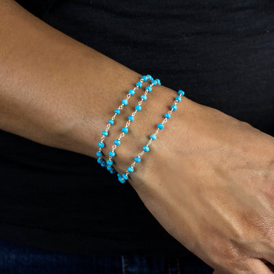 Sleeping Beauty Turquoise beaded chain bracelet
