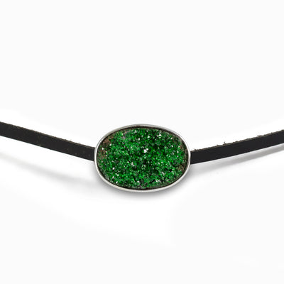 Uvarovite Flat Leather Choker Necklace