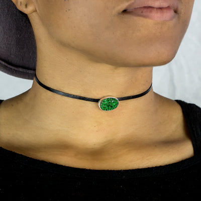Uvarovite Flat Leather Choker Necklace on Model