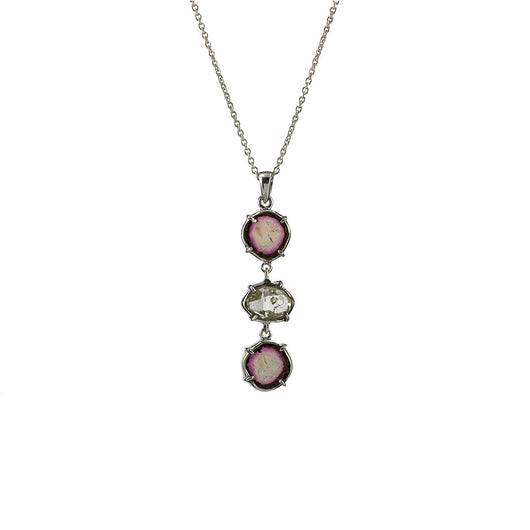 Watermelon Tourmaline with Herkimer Diamond Pendant from the Melody Collection