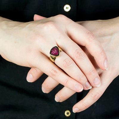 Watermelon Tourmaline Ring on Model