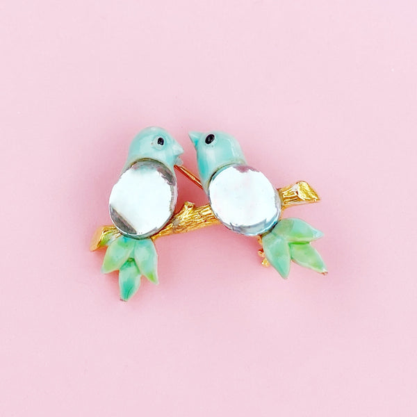 Dainty Jelly Belly Love Birds Figural Brooch, 1960s