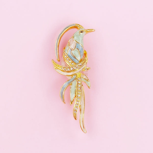 Dainty Pastel Enamel Parrot Brooch By Plainville Stock Co, 1989